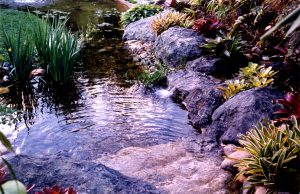 artificial rock waterfall pond